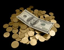 Free 100 Dollars  And A Lot Of Golden Coins Stock Image - 8475551