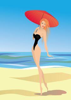 Blond Woman Walk On The Beach Stock Photos