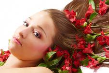 Free Beautiful Woman With Flowers Stock Images - 8476574