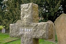 Free Cross Gravestone In A Cemetery Stock Photos - 8476693