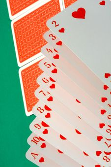 Cards In Hearts In A Row Stock Image