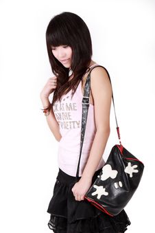 Free Asian Girl With Handbag Stock Photos - 8477343