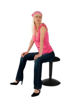 Free Blonde Pink Blouse Blue Jeans On Chair Stock Photos - 8478013