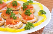 Free Smoked Salmon And Cream Cheese On Crackers Royalty Free Stock Image - 8478216