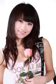 Asian Girl And Rose Stock Images