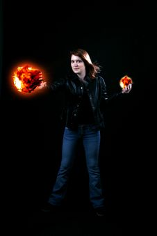 Free Teenage Girl Holding Fireballs In Her Hands Stock Images - 8478774