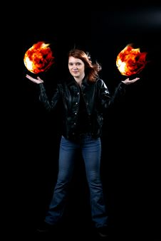 Free Teenage Girl Holding Floating Fireballs Stock Photo - 8478780
