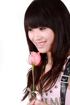 Asian Girl And Rose Royalty Free Stock Photography