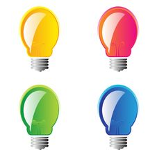 Set Of 4 Lightbulbs Stock Image