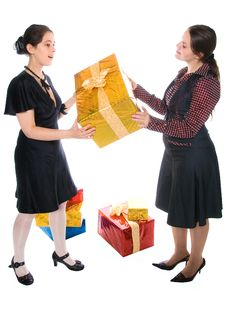 Free Girl Make Present To Another One Stock Photos - 8479473