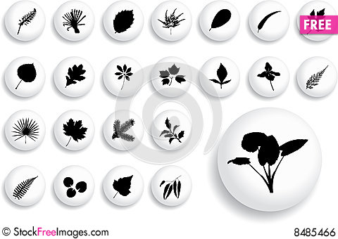 Big set buttons - 17_B. Leaves Stock Photo