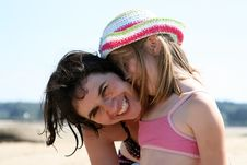 Mother And Girl Hugging Royalty Free Stock Photos
