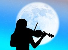 Free Violinist In The Moon Stock Images - 8480814
