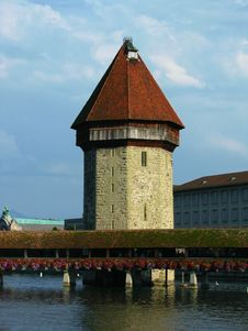 Chapel Bridge And The Water Tower, Lucerne Royalty Free Stock Photos