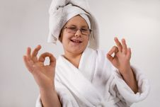 Funny Looking Kid With Bathrobe And Towel Stock Images
