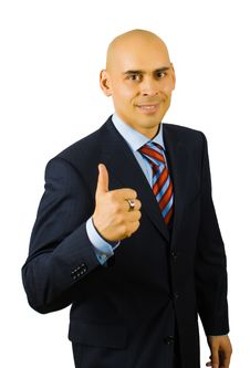 Free Businessman Show Thumb Up Sing Royalty Free Stock Image - 8481566
