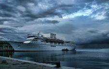 Ocean Liner In The Harbour Of Trieste Stock Image