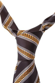 Free Brown Necktie With Yellow And White Pattern Stock Photos - 8482273
