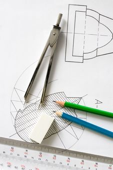 Free Detailed Hand Drawn Blueprints Royalty Free Stock Photo - 8483105