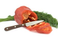 Free Sliced Paprika With Bunch Of Fennel Royalty Free Stock Photography - 8483177