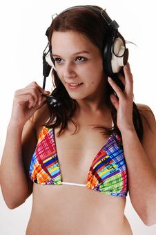 Free Young Woman With Earphones. Royalty Free Stock Photos - 8483918