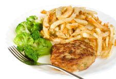 Free Cutlet With Broccoli And Potatoes Stock Photos - 8484333