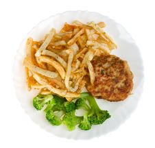 Fried Potatoes With Cutlet And Broccoli Royalty Free Stock Images