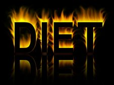Free Diet Word In Fire With Reflection Royalty Free Stock Photography - 8484427