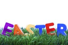 Easter Word Made With Plastic Letters Royalty Free Stock Images