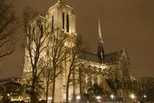 Notre Dame At Night Stock Images