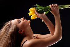 Free Woman And Bouquet Of Tulips Stock Images - 8485364