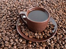 Cup Of Coffee Surrounded By Coffee Beans Royalty Free Stock Photography