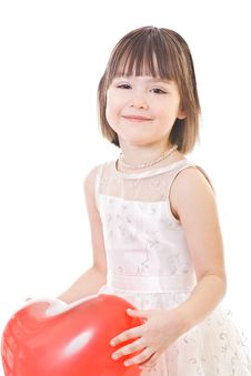 Free Smiling Little Girl Holds On Red Balloon Stock Photos - 8488443