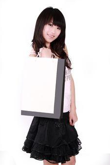 Free Asian Shopping Girl Stock Image - 8488491