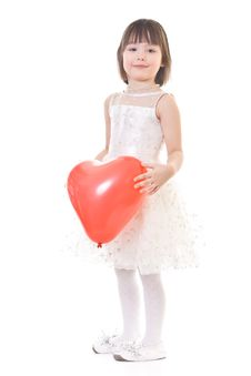 Free Little Girl On White Background Royalty Free Stock Images - 8488539