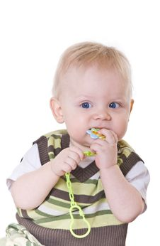 Little Boy In A Green Vest Royalty Free Stock Image