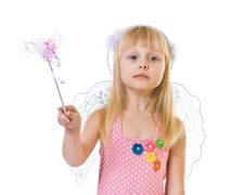 Free Girl In Pink Dress And Magic Wand Stock Image - 8489161