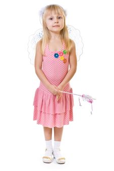 Free Girl In Pink Dress Holds The Magic Wand Royalty Free Stock Photos - 8489178