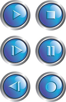 Free Blue Player Buttons Stock Photography - 8489872
