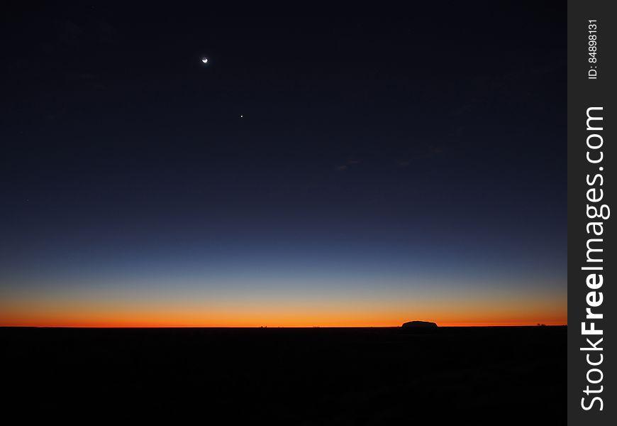 Horizon on Landscape at Sunset