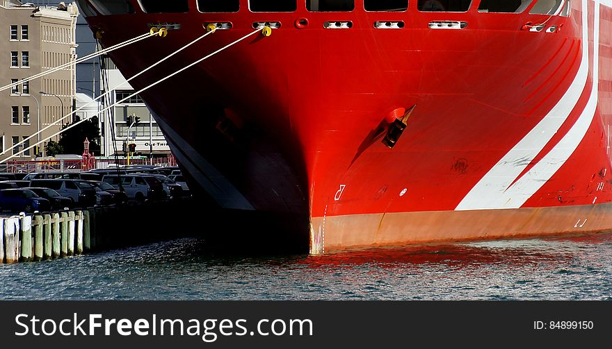 Red boat bow.