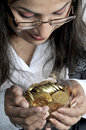 Free Girl With Gold Coins Royalty Free Stock Photos - 8498798