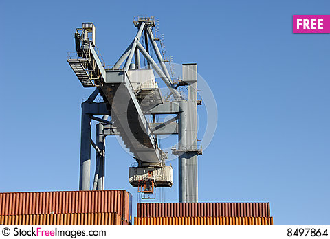 Free Large Crane Moving Containers At The Port Stock Images - 8497864