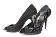 Free Black Suede Female Shoes Royalty Free Stock Image - 8490366