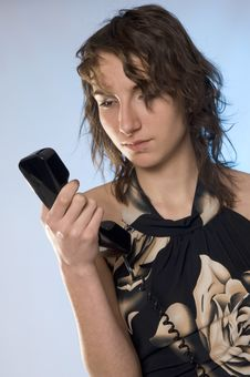 Free Girl With Phone Royalty Free Stock Photography - 8490547