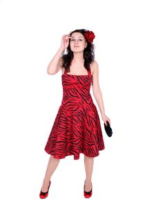 Free Pinup Girl Standing In Studio Royalty Free Stock Photography - 8490617