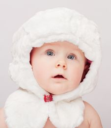 Free Small Cute Child In White Hat Stock Photo - 8490700