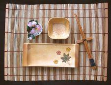 Sushi Set On Bamboo Mat Stock Photo