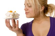 Free Girl With The Cake Stock Image - 8491051