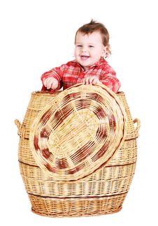 Free Baby Boy Sitting In Basket Royalty Free Stock Photo - 8491645